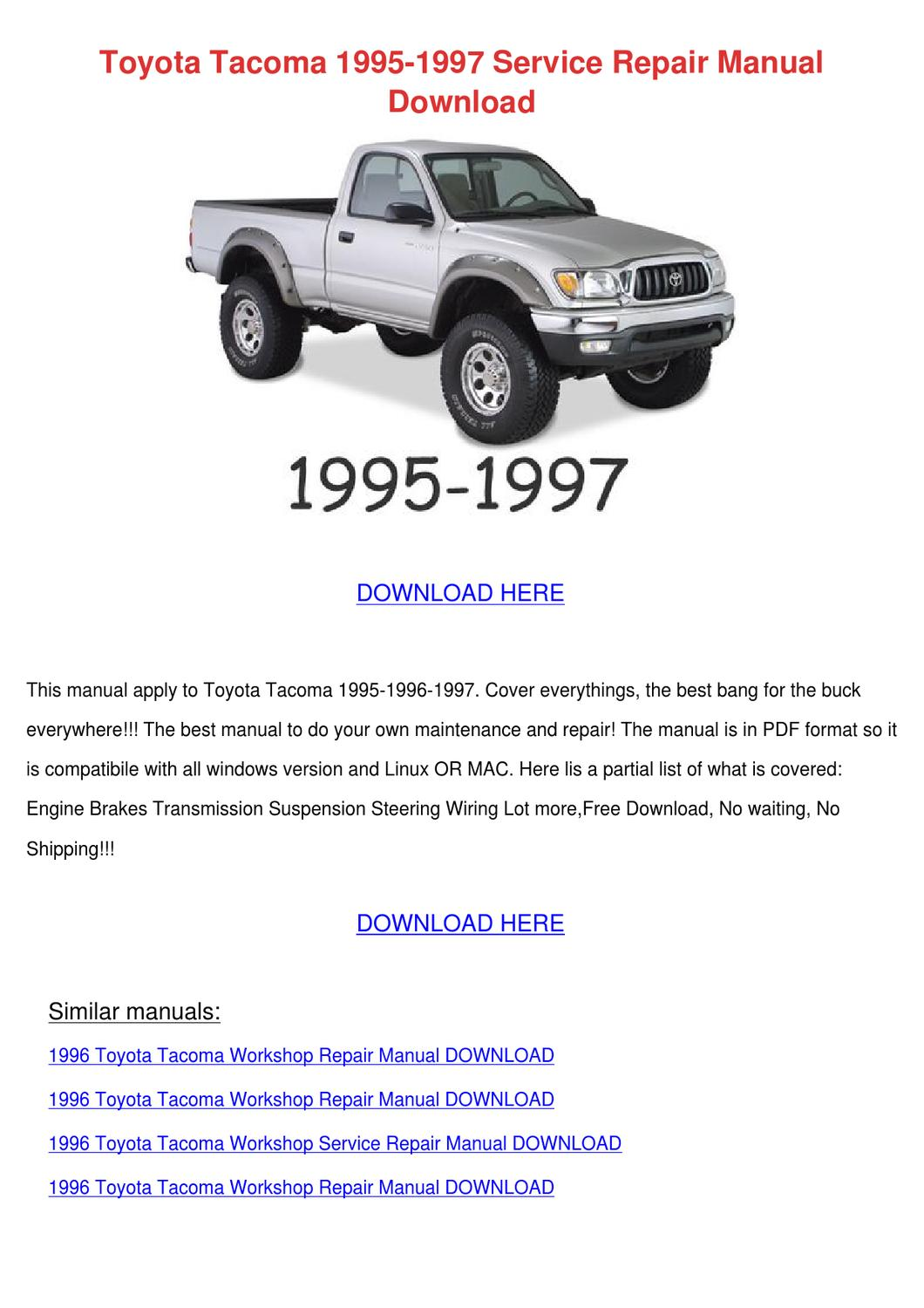 toyota tacoma repair manual pdf